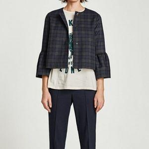 ZARA Bell Sleeve Plaid Checkered Blazer Jacket, M